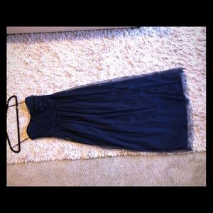 Navy Blue strapless floor length gown size small